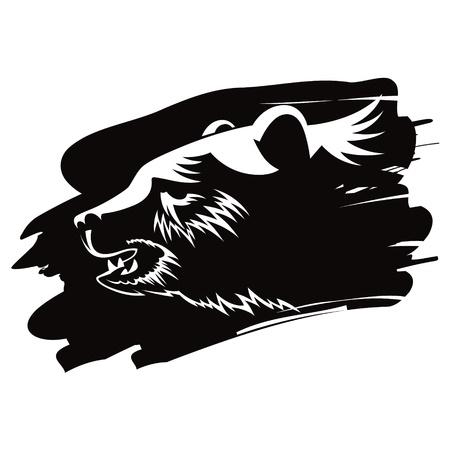 threaten: Bear head animal beast nature vector illustration