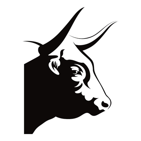 persistence: Bull head animal cow farm beast nature vector illustration