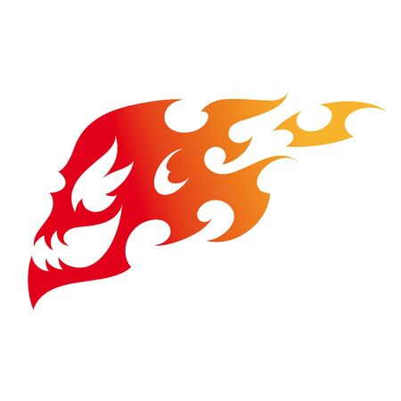 fire skull: Fire Skull decorative tattoo flame burn