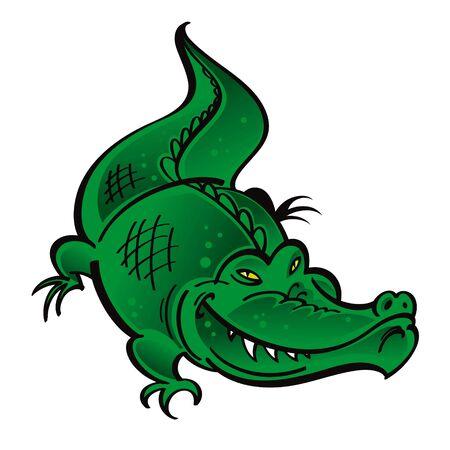 dominate: Green Crocodile reptile wild nature animal