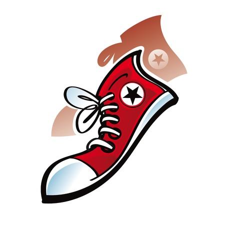 sport wear: Zapatillas de deporte de desgaste de la zapata de goma estrellas Vectores