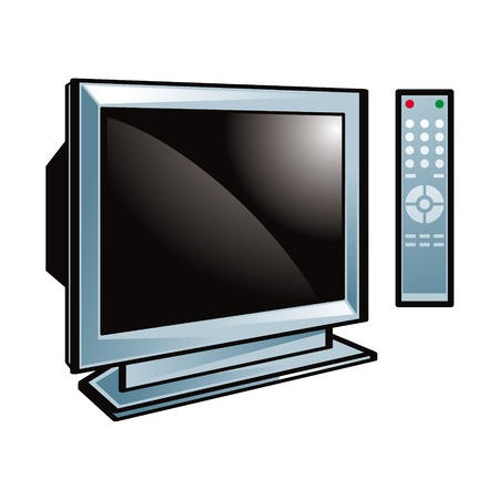 flat screen tv: Television monitor remote control vision plastic glass wide screen