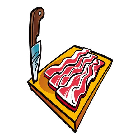 pig iron: Slices of Bacon on the wooden desk and knife meat