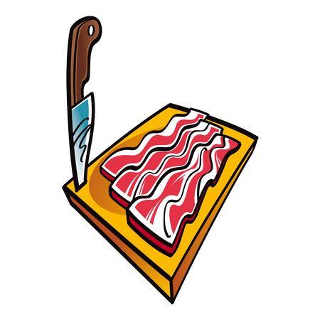 schmalz: Speckscheiben auf dem h�lzernen Schreibtisch und Messer Fleisch
