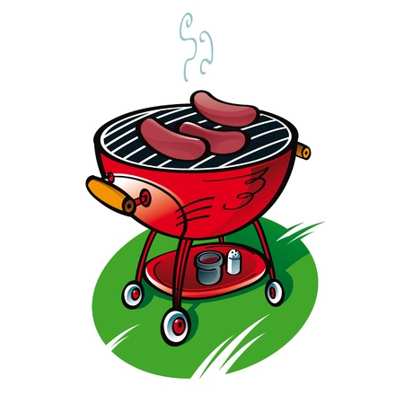 Barbecue with sausages on the lawn party food Иллюстрация