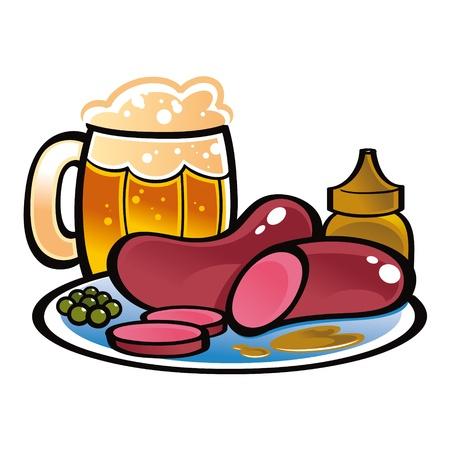 comida alemana: Salchichas alemanas taza de cerveza de alimentos bebidas guisantes mostaza Vectores