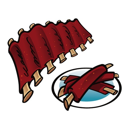 Grilled Ribs on the plate food meat Vector