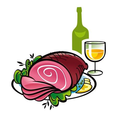 ham: Ham y una botella y un vaso de bebida vino la carne de los alimentos Vectores