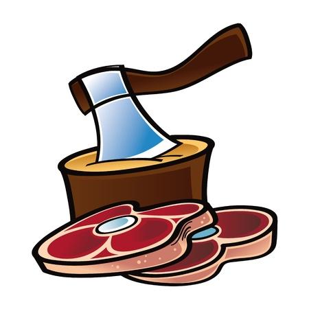 carniceria: Hacha de carne cruda de corte de cuchilla corte la alimentación Vectores