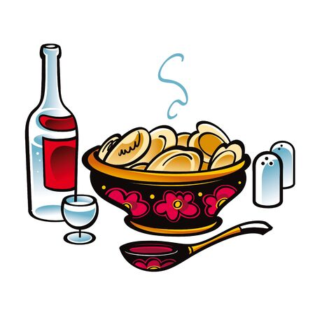 russian cuisine: Russian Meat Dumplings food meal national cuisine vodka Illustration