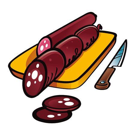 carniceria: Chorizo ??ahumado en rodajas en el escritorio de madera con un cuchillo Vectores
