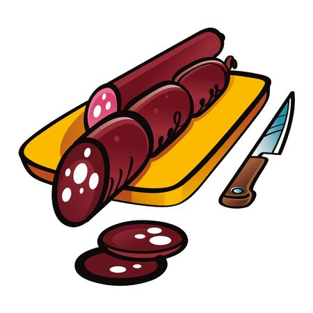 Sliced Smoked Sausage on the wooden desk with knife  Illustration