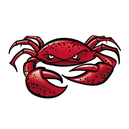 cancer crab: Red Crab with big sharp claws sea ocean animal marine