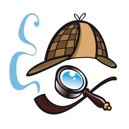 pijp roken: Detective Sherlock Holmes hoed pijp glazen lens politie zoeken vinden Stock Illustratie