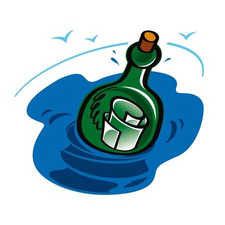 Message in the Bottle sea ocean help glass water Stock Vector - 11783122