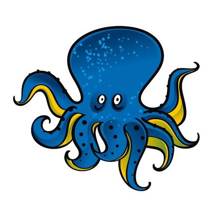 bottom of the sea: Blue Octopus animal marine wild life sea ocean Illustration