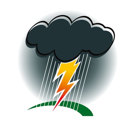 storm cloud: Storm with thunder and lightning rain wind nature bad weather cyclone Illustration