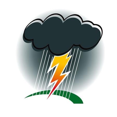 dark cloud: Tormenta con truenos y rel�mpagos lluvia viento cicl�nico naturaleza del mal tiempo