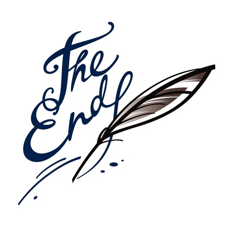 the end: The end finish final chapter book letter ink feather Illustration