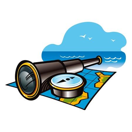 ship captain: Travel navigation sea ocean journey adventure map telescope compass Illustration