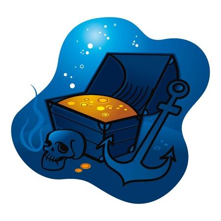 dead sea: Treasure money coins skull anchor pirate sea ocean depth lost