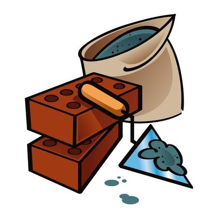 haltbarkeit: Bau und Reparatur Haus Ziegel Zement Illustration