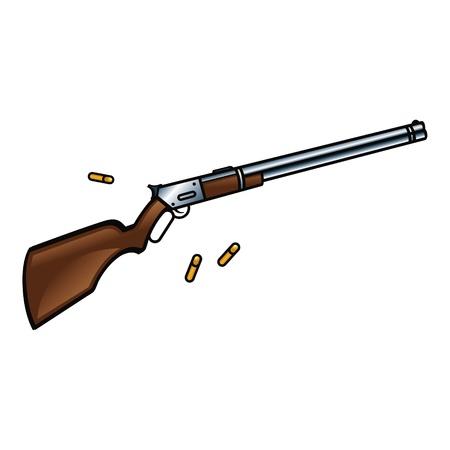 Rifle Winchester es un arma de fuego para los vaqueros verdadera Ilustración de vector