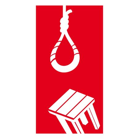 Suicide depression death rope hang chair problem Vector