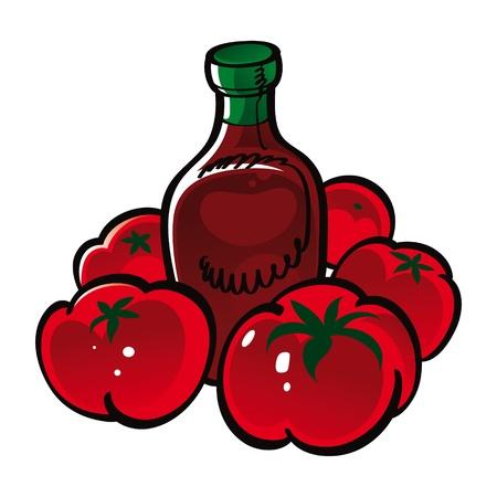 salsa de tomate: Tomato Ketchup de alimentos vegetales Vectores