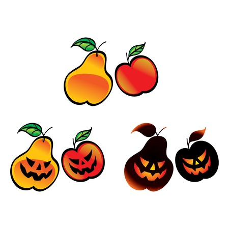 Halloween Fruits - pear apple fear horror Stock Vector - 11783184