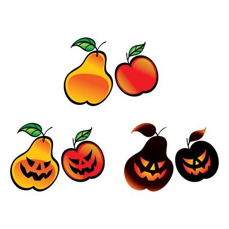 tooth fairy: Halloween Fruits - pear apple fear horror