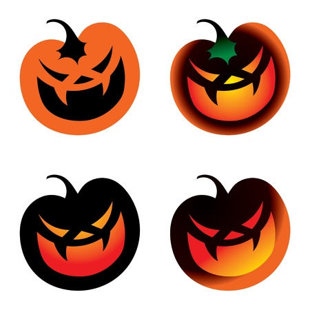 Halloween Pumpkin vegetable horror fear burning smile Vector