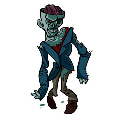 Zombie - Halloween suit evil walking dead brain Vector