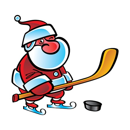 Hockey Santa Claus sport Christmas winter game Vector