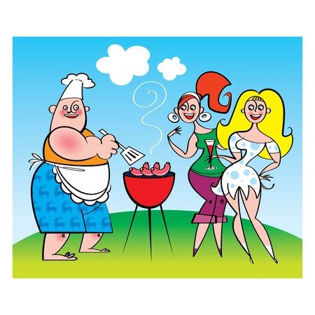 lawn party: Barbecue Party - cook and girls Illustration