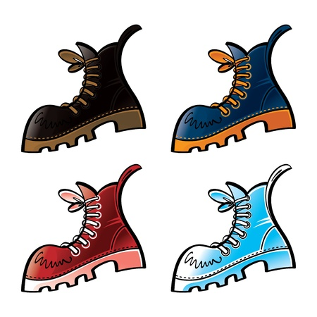 safety shoes: Set of colored boots foot wear shoe
