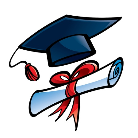 achievement clip art: Education Graduation cap and diploma college