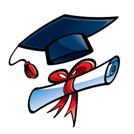 diplom studen: Erziehung Abschluss Kappe und Diplom Hochschule Illustration