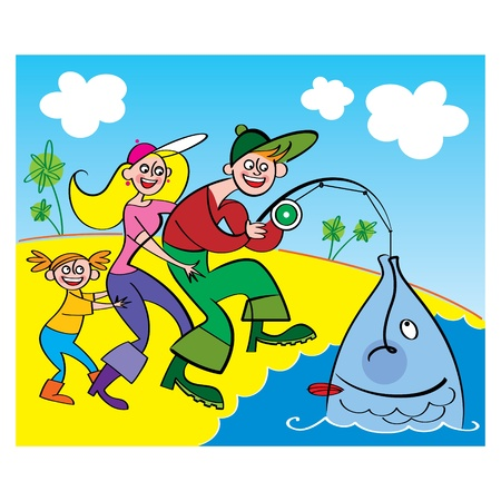 Family Fishing - Big Fish mother father son sea Stock Vector - 11852072