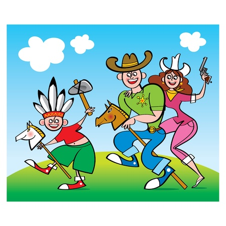 indian family: Family Game - parents cowboys and little indian boy party Illustration