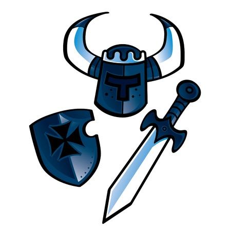 Knight equipment helmet shield sword middle age warrior Vector