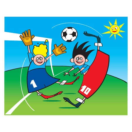 Soccer or Football game sport children boys playing Vector