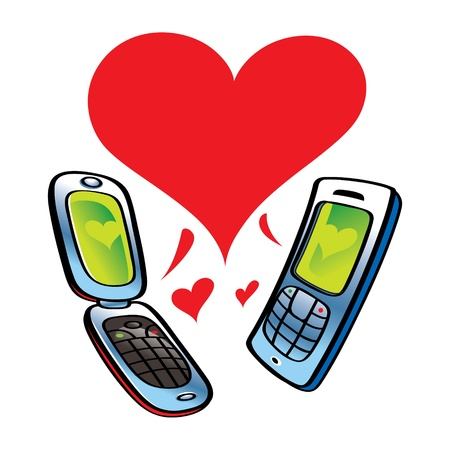 Cell Phones talking about Love communication Vector