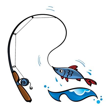 pesca: Ca�a de pescar peces de deporte de ocio, mar, oc�ano r�o Vectores