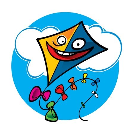 Colorful Kite sky clouds air fly toy Vector