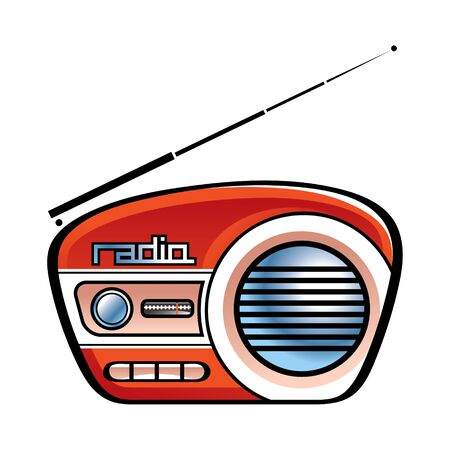 retro radio: Radio retro vintage speaker music news Illustration