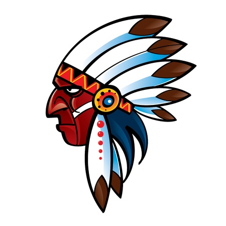 canada aboriginal: Portrait of red skin Indian Chief american native Illustration