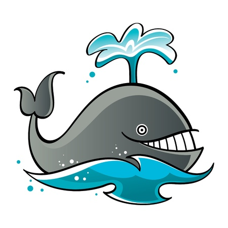 cartoon whale: Whale in the sea or ocean fountain fish mammal