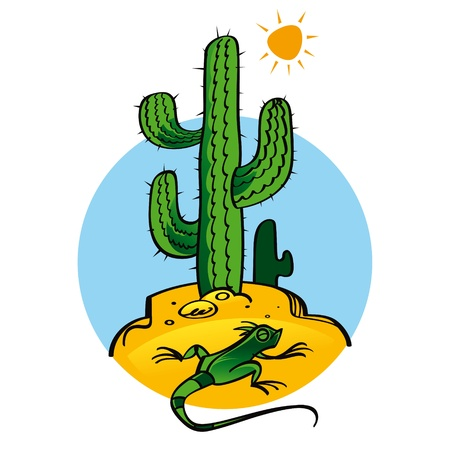 prick: Cactus and Lizard nature plant reptile sun