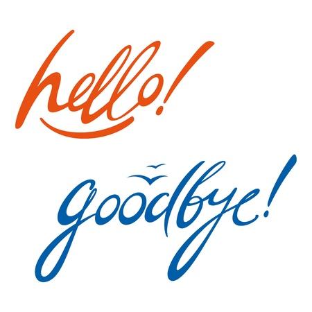 despedida: Hello Goodbye la firma de mensajes del documento escrito Vectores